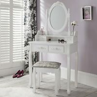 White Dressing Table and Stool With 4 Drawers Vanity Makeup Desk Shabby Chic