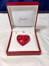 Baccarat Crystal Red Heart Brooch - Spilla in cristallo rossa - Vintage - NEW -