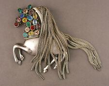Fabulous 1940s Jeweled Horse Brooch w/ Chain Fringe Mane - Accessocraft Robert