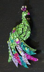 Beautiful Rhinestone Peacock Bird Fashion Brooch Pin Brand New FREE P&P