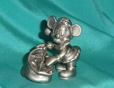Disney Mickey Mouse Cast Metal Figurine Paperweight Santa with Christmas Toy Bag