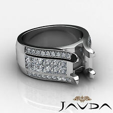 Pave Invisible Set Diamond Wedding Round Semi Mount Ring 14k White Gold 1.7Ct