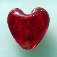 5 X RED SILVER FOIL LAMP WORK GLASS HEART BEADS 20 MM DRILLED TOP TO BOTTOM