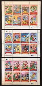SIERRA LEONE DISNEY THE NIGHT BEFORE CHRISTMAS STAMPS SHEETS SET OF 3 1990 MNH