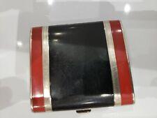 "Vintage Cigarette Case Silver Tone & Black & Red Enamel, 2 3/4 x 2 3/4"""