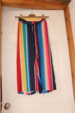 Rainbow Pride Culottes Palazzo 3/4 Trousers Silky UK 8 Wide Leg NEW