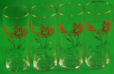 High Ball Tumbler Tall Glasses Etched Red Roses Collectable x 4