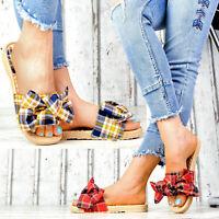 NEU Plateau Damen Pantoletten Kariert Sommer Sandalen Freizeitschuhe Trendy