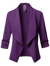 FashionOutfit Women's Solid/Print Stretch 3/4 Gathered Sleeve Open Blazer Jacket