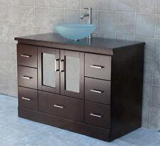 """48"""" Bathroom Vanity 48-inch Cabinet Wood Top Glass Vessel Sink + Faucet Mgs"""