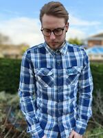 Superdry M Colourful Blue Check Shirt Men's Lumberjack Twill Smart Casual