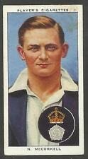 PLAYER'S 1938 CRICKETERS N. McCorkell Card No 17 of 50 CRICKET CIGARETTE CARDS