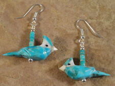 Hand Carved Blue Jay Turquoise Fetish Earrings