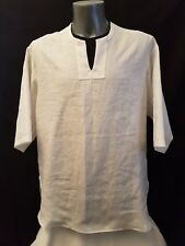 UNISEX - LINEN SHIRT - Pure White Italian Linen Shirt / Top with Curved Side.