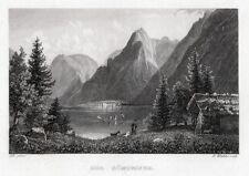 Der Königssee (Chiemsee) bei Berchtesgaden. Originaler Stahlstich  um 1850
