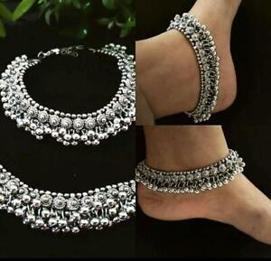 Indian Women Anklets Silver Oxidized Jewellery Ankle Bracelet Traditional Payal