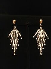 Needles Earrings Crystals Encrusted