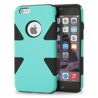 For iPhone 6 S Plus Dynamic Tuff Slim Phone Case Cover +Tempered Glass Screen