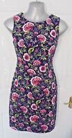 JOE BROWNS Size 10 Navy Blue Pink Lime Floral Wiggle Dress Tailored Style
