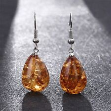 Elegant Women Natural Polished Baltic Amber Color Earrings Jewelry Love Gifts