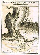 """Bellin's Map - """"PLAN DE LA VILLE ET DES FORTS DE ST. YAGO"""" (CAPE VERDE) - c1865"""