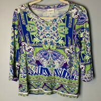 Chico's Women's Top Size 1 (Medium, 8) V-Neck 3/4 Sleeves Blue Purple Green