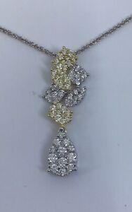 18k Yellow & White Gold Yellow & White Diamond Pendant Necklace