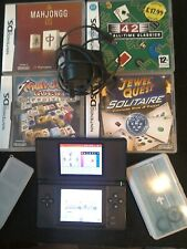 Nintendo DS Lite Black Handheld System With Charger + 4 games and carrying case