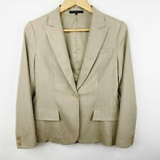 Theory Womens Size 8 Wool Blazer Jacket Lined Beige One Button Career Work