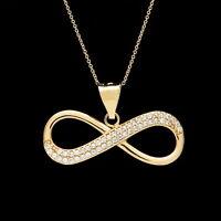 "0.25 Ct Infinity Created Diamond Pendant 14k Yellow Gold Love Necklace 18"" Chain"