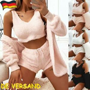 Damen Warm Vlies Crop Top+Shorts+Strickjacke Winter Pyjama Set Trainingsanzüge