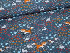 Jersey Baumwolle Baumwolljersey mit Füchsen Fuchs dunkelgrau grau rot orange