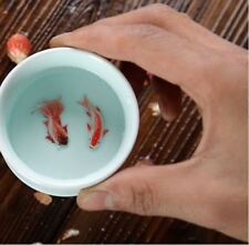 Chinese Mysterious Green Porcelain Creative Designed Koi Fish Tea Cup 70ml