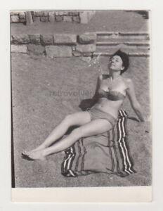 Pretty Cute Leggy Young Woman Beach Bikini Swimsuit Lady Sexy Female VTG Photo