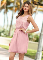 Dusky Pink Summer Fit and Flare Chiffon Skater Dress with Lace Bodice size 12