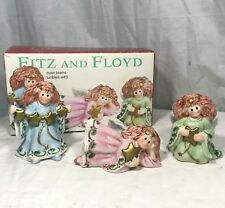 Fitz and Floyd Moon Beam Angels Christmas Ceramic Figurines Tumblers Set of 3