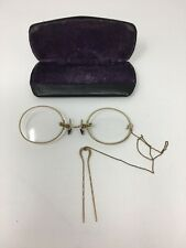 Antique Pince Nez Glasses Gold Ornate Hairpin Round Alton IL Advertising Case