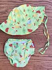 iPlayInfant Girls Sz 12m Swim Diaper & Sun Hat Green Fruit Ruffle Bum UPF 50+