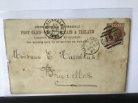 R.Johnson Clapham & Morris Manchester 1885 To Brussels stamps card Ref R25813