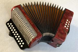 "HOHNER ""ERICA"" melodeon, diatonic two row button accordion, key: C - F"