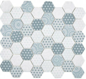 Glass Mosaic Hexagon Eco Blue Mosaic Tiles Wall Mirror Tiles Kitchen Bath