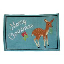 "Merry Christmas Reindeer 36"" Cotton Rug Vintage-style Christmas decor New"