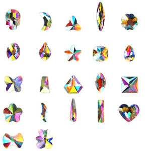 50Pcs 3D Nail Art Rhinestones Elongated Teardrop Glass Flame Colorful Stones #01