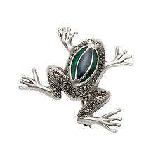 Sterling Silver & Marcasite Frog Pin w/Blue & Green Enamel - MPN183