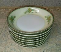 "8 Fine China Japan 7.5"" Coupe Soup Bowls Green Black Art Deco Band Floral Sprays"