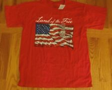 NWT MEN'S RED USA FLAG LAND OF THE FREE T-SHIRT -- SIZE MEDIUM M
