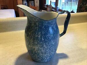 Antique Blue & White Swirl Graniteware Enamelware  Milk or Water Pitcher