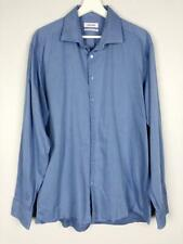 ** CALVIN KLEIN ** Sz 43 ( L ) Mens Blue L/S Slim Fit Easy Iron Cotton Shirt