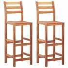 Set of 2 Bar Stools Solid Acacia Wood Bar Chairs Counter Height Pub Armchairs US