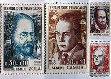 Francia 4 SELLOS SERIE COMPLETO CELEBRIDADES 1967 CAMUS ZOLA nuevos 1511/4